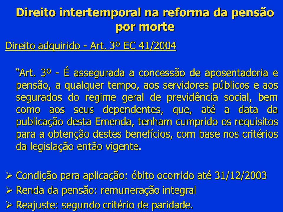 Direito intertemporal na reforma da pensão por morte