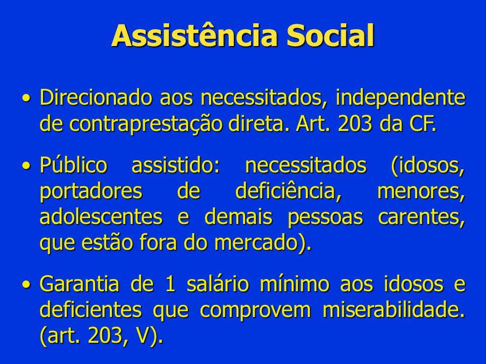 Assistência SocialDirecionado aos necessitados, independente de contraprestação direta. Art. 203 da CF.