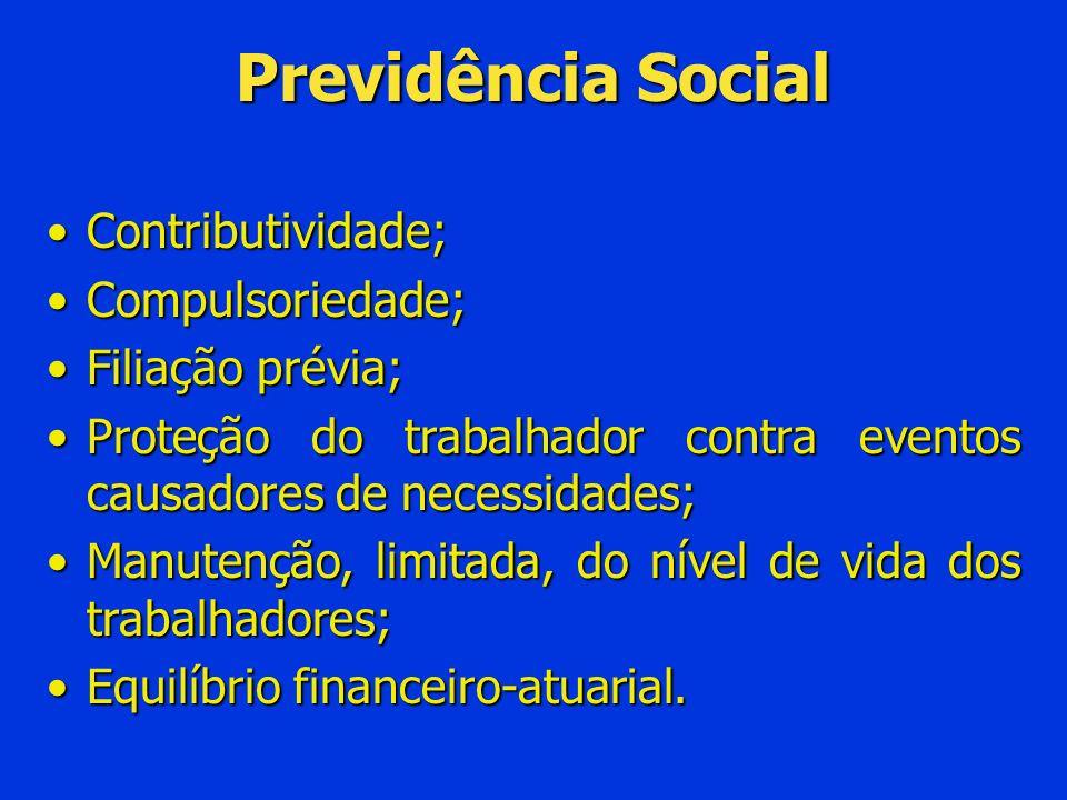 Previdência Social Contributividade; Compulsoriedade; Filiação prévia;