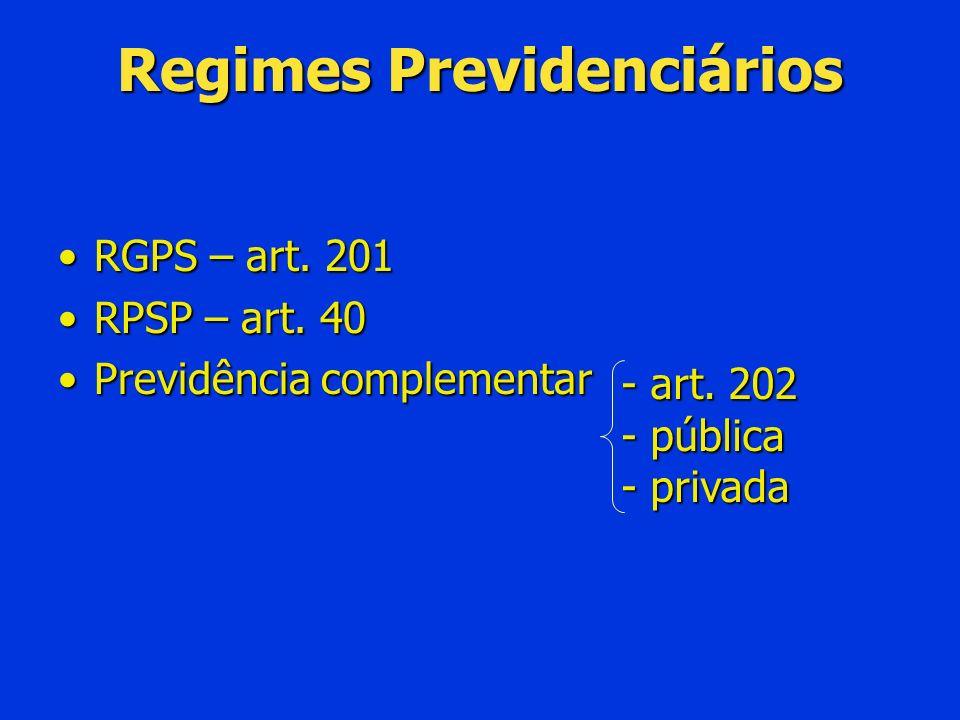 Regimes Previdenciários