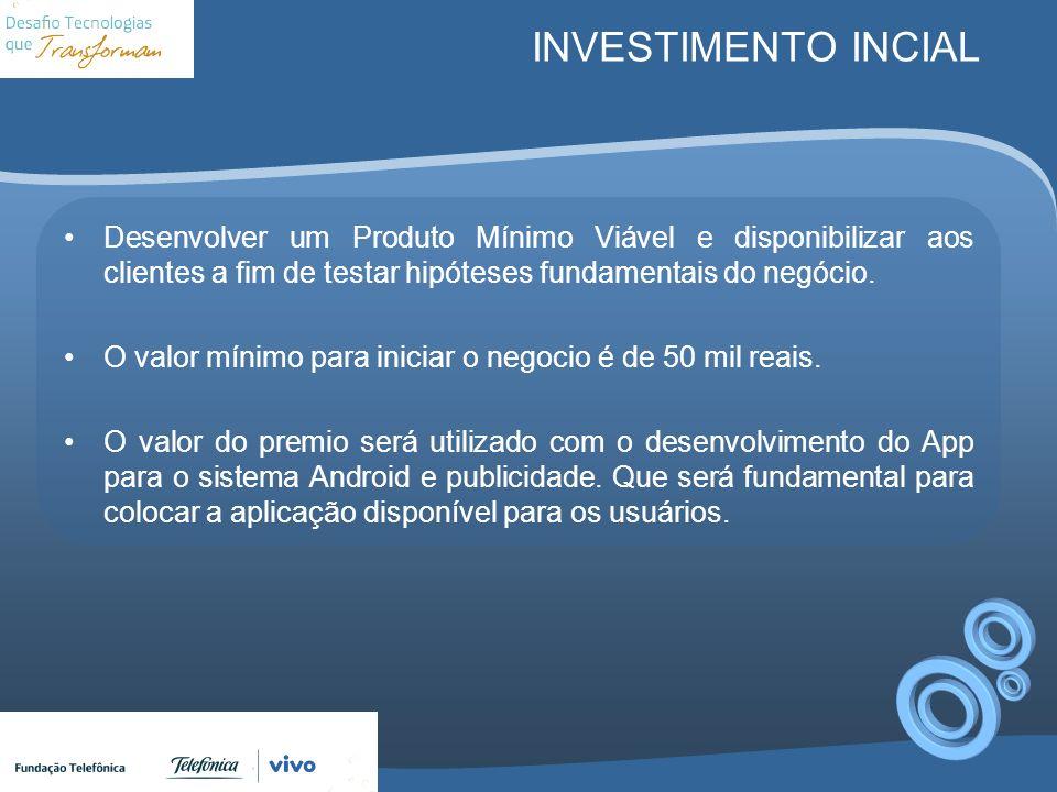 INVESTIMENTO INCIAL Desenvolver um Produto Mínimo Viável e disponibilizar aos clientes a fim de testar hipóteses fundamentais do negócio.