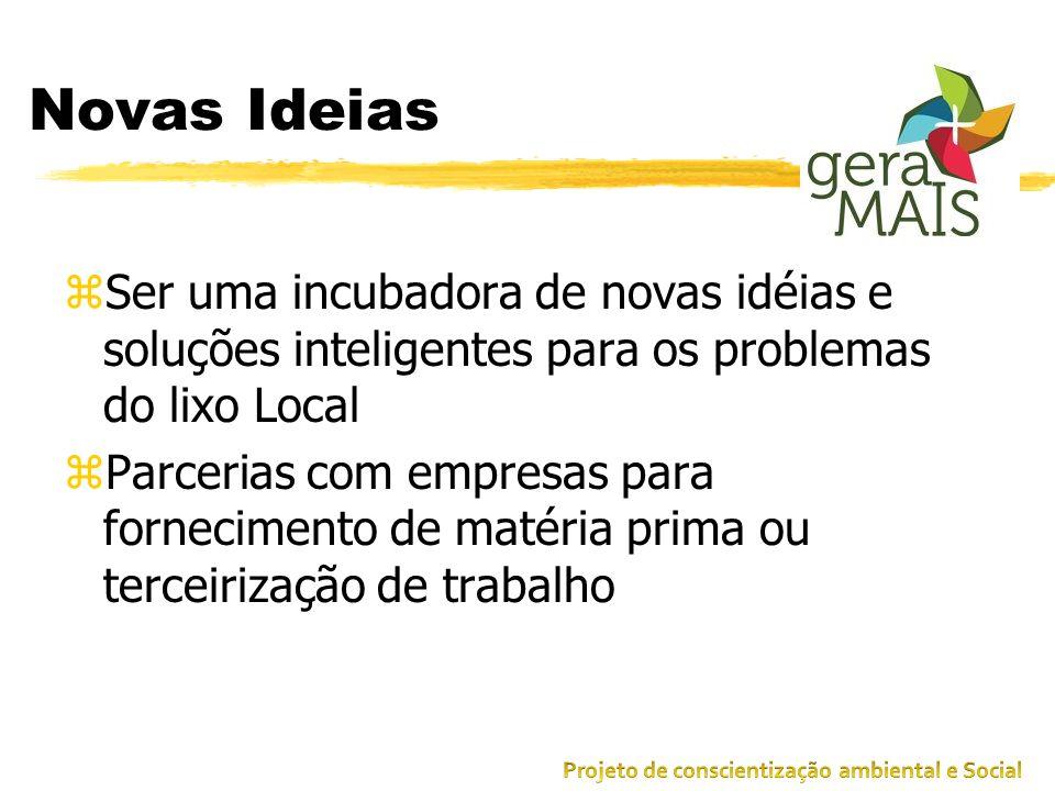 Novas Ideias Ser uma incubadora de novas idéias e soluções inteligentes para os problemas do lixo Local.