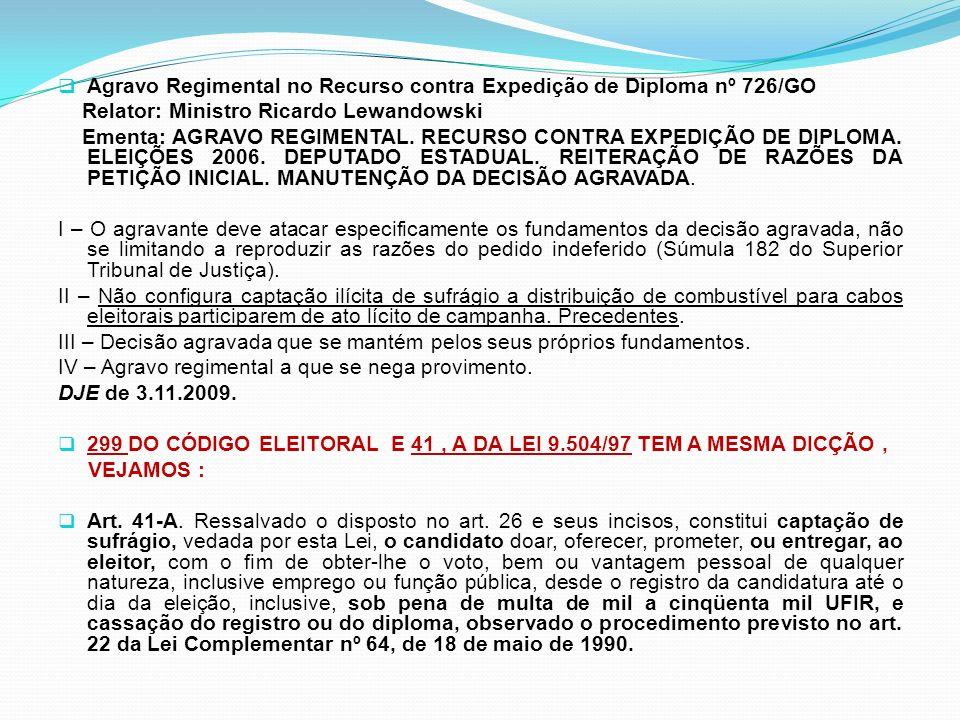 Agravo Regimental no Recurso contra Expedição de Diploma nº 726/GO