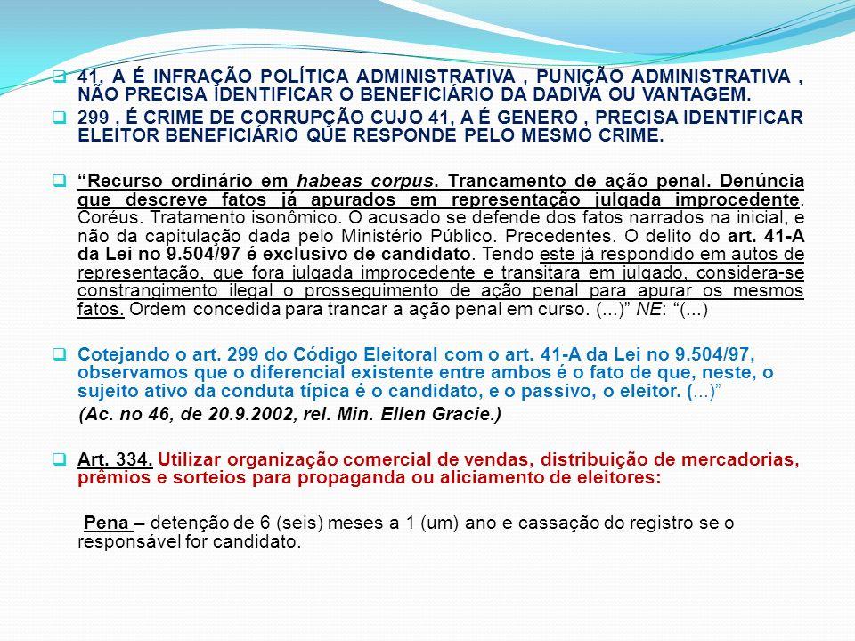 41, A É INFRAÇÃO POLÍTICA ADMINISTRATIVA , PUNIÇÃO ADMINISTRATIVA , NÃO PRECISA IDENTIFICAR O BENEFICIÁRIO DA DADIVA OU VANTAGEM.