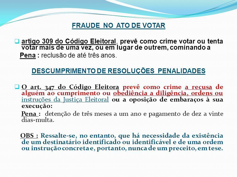 DESCUMPRIMENTO DE RESOLUÇÕES PENALIDADES