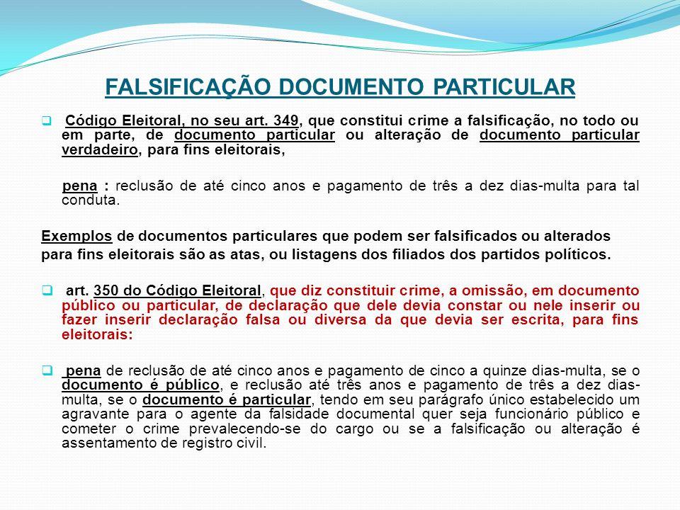 FALSIFICAÇÃO DOCUMENTO PARTICULAR