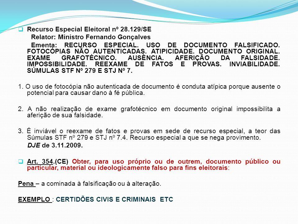 Recurso Especial Eleitoral nº 28.129/SE