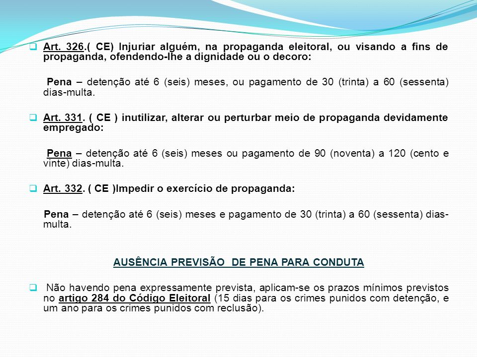 AUSÊNCIA PREVISÃO DE PENA PARA CONDUTA