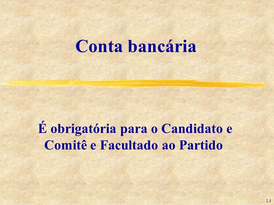 É obrigatória para o Candidato e Comitê e Facultado ao Partido