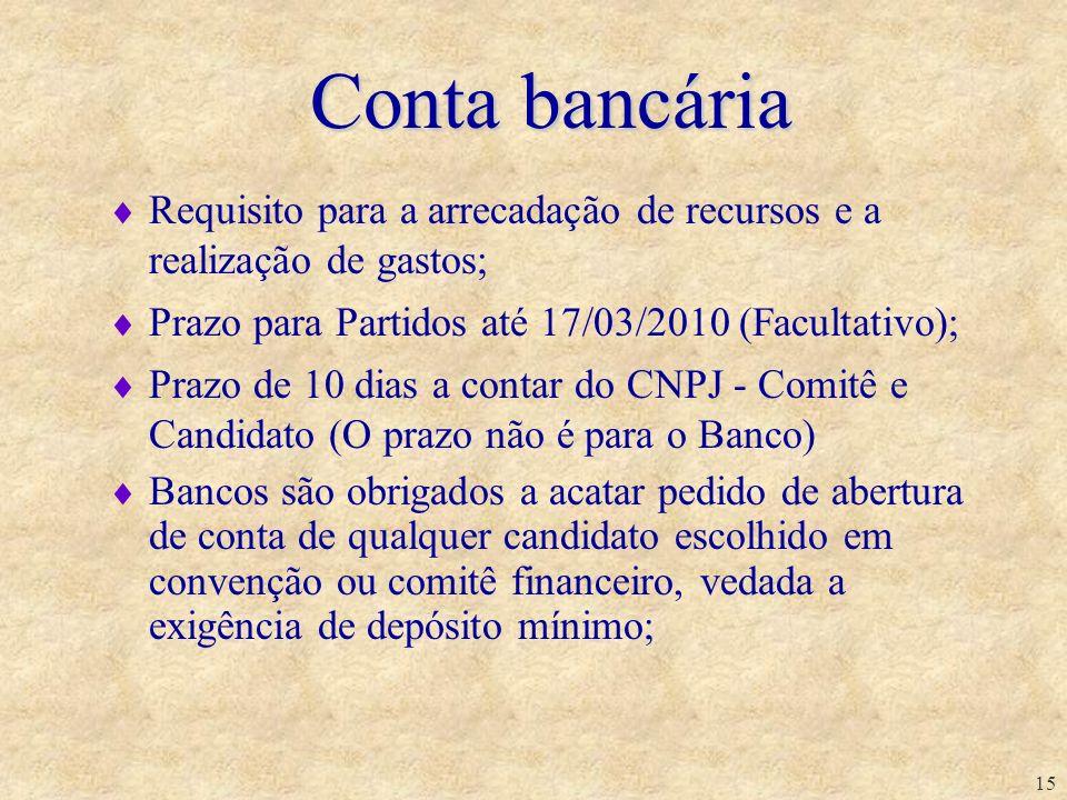 Conta bancáriaRequisito para a arrecadação de recursos e a realização de gastos; Prazo para Partidos até 17/03/2010 (Facultativo);
