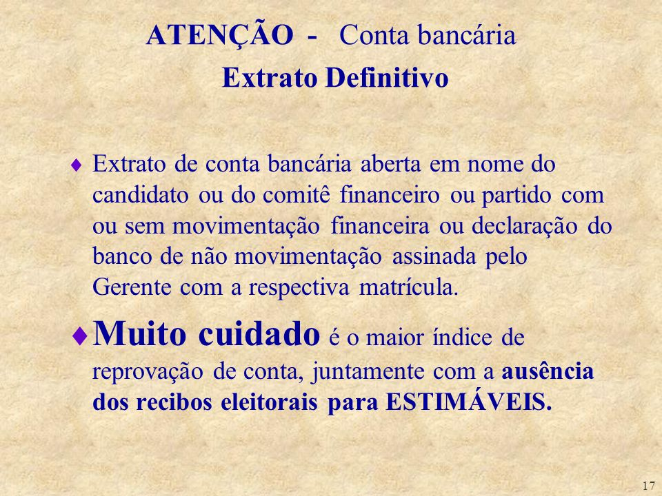 ATENÇÃO - Conta bancária Extrato Definitivo
