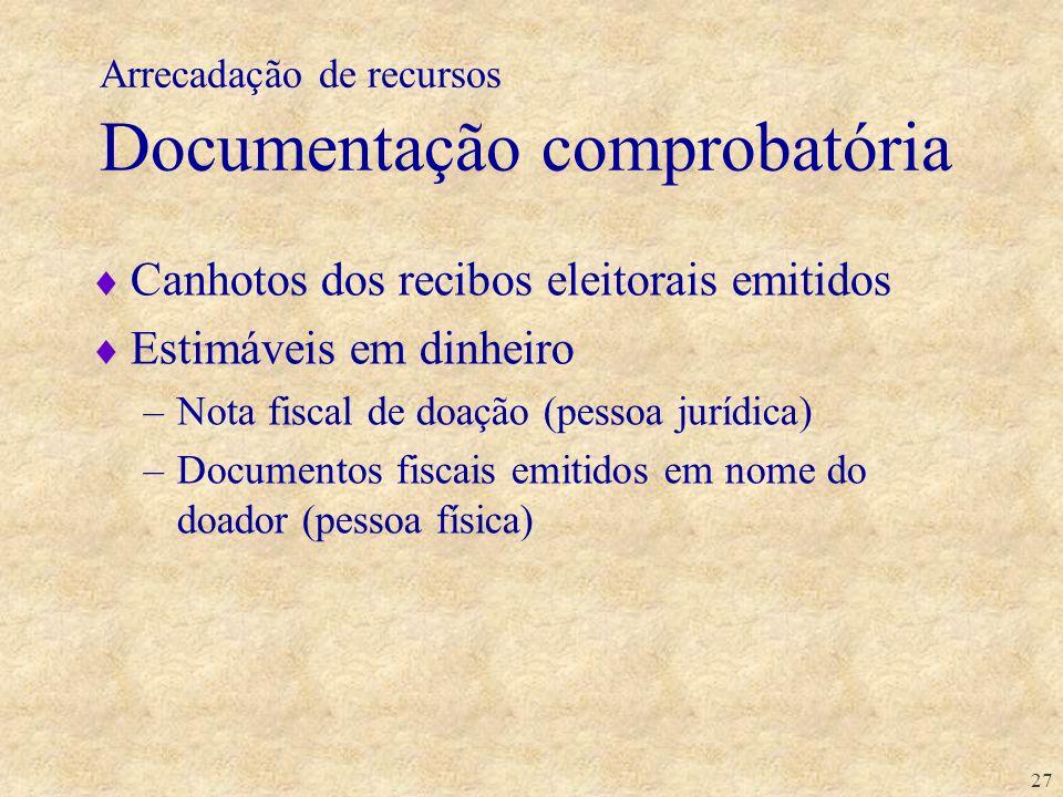 Arrecadação de recursos Documentação comprobatória