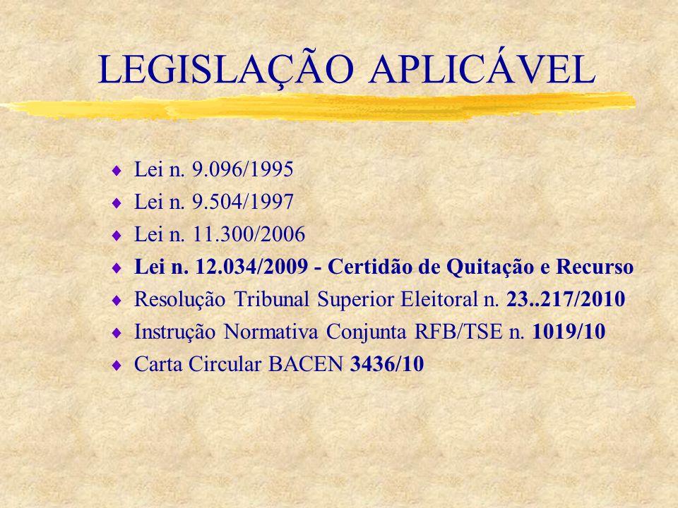 LEGISLAÇÃO APLICÁVEL Lei n. 9.096/1995 Lei n. 9.504/1997