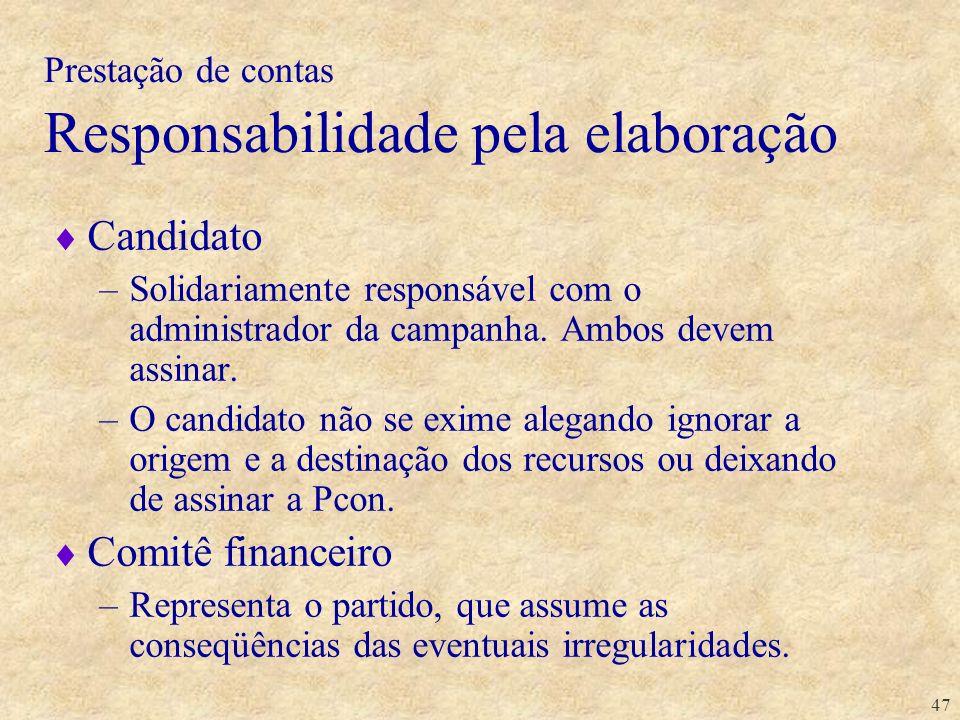 Prestação de contas Responsabilidade pela elaboração