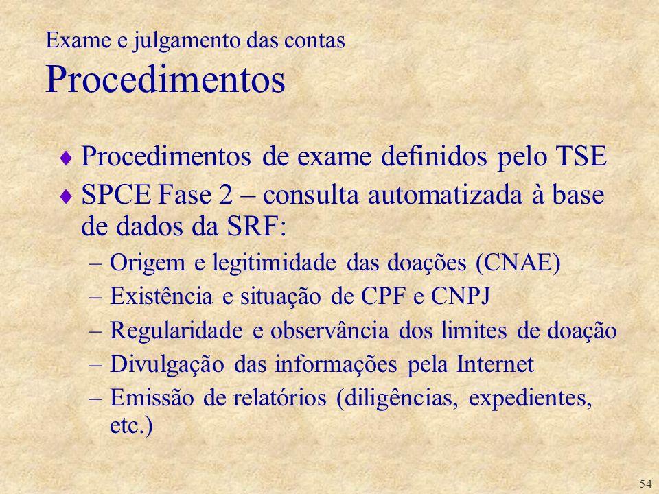 Exame e julgamento das contas Procedimentos