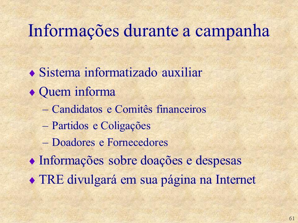 Informações durante a campanha