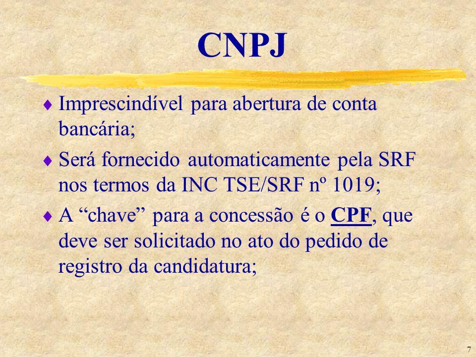 CNPJ Imprescindível para abertura de conta bancária;