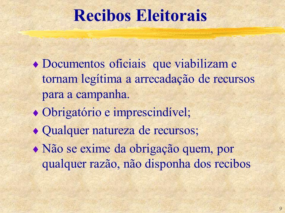 Recibos EleitoraisDocumentos oficiais que viabilizam e tornam legítima a arrecadação de recursos para a campanha.