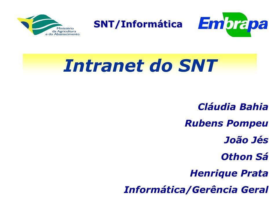 Intranet do SNT Cláudia Bahia Rubens Pompeu João Jés Othon Sá