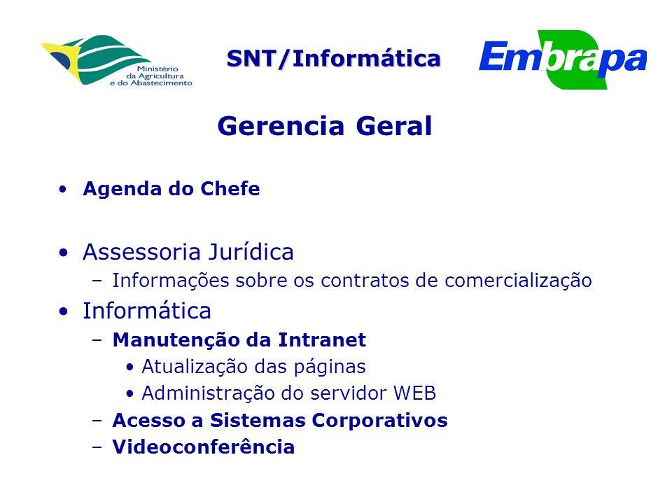 Gerencia Geral Assessoria Jurídica Informática Agenda do Chefe