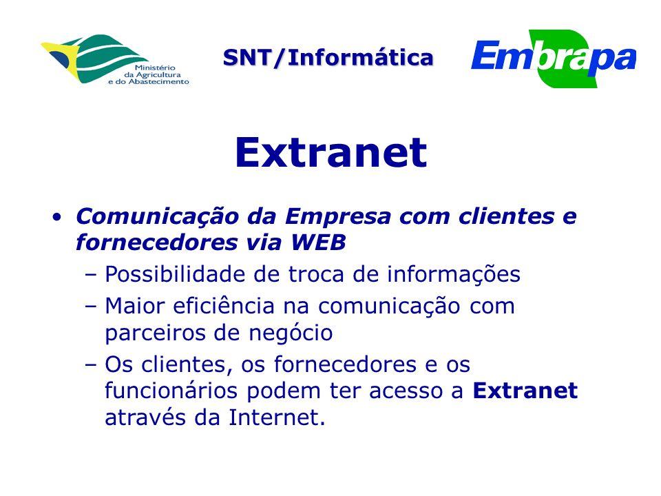 Extranet Comunicação da Empresa com clientes e fornecedores via WEB