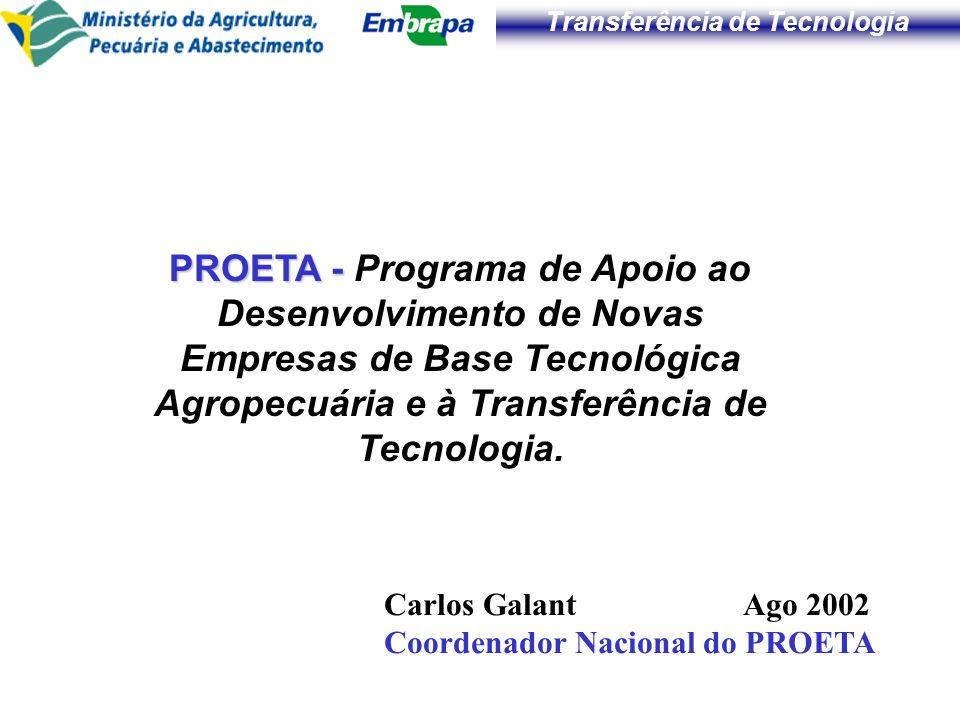 PROETA - Programa de Apoio ao Desenvolvimento de Novas Empresas de Base Tecnológica Agropecuária e à Transferência de Tecnologia.
