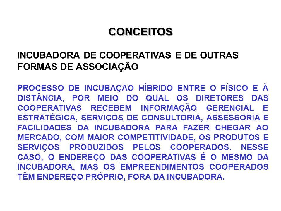CONCEITOS INCUBADORA DE COOPERATIVAS E DE OUTRAS FORMAS DE ASSOCIAÇÃO