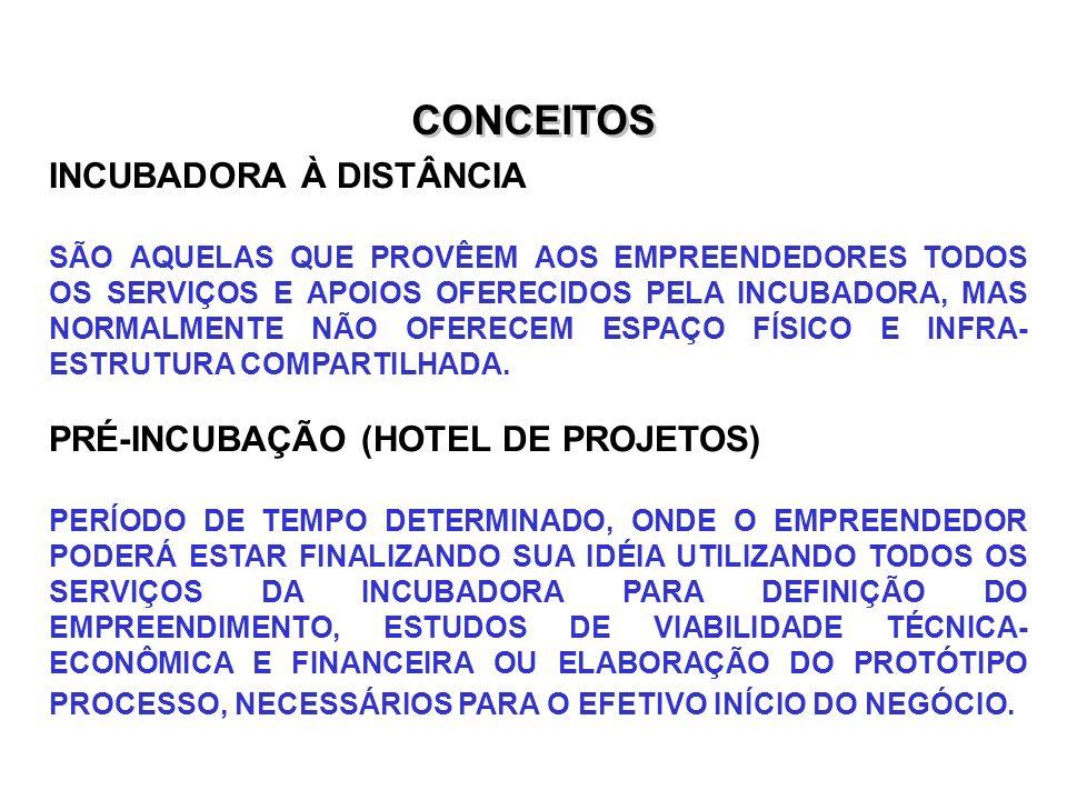 CONCEITOS INCUBADORA À DISTÂNCIA PRÉ-INCUBAÇÃO (HOTEL DE PROJETOS)