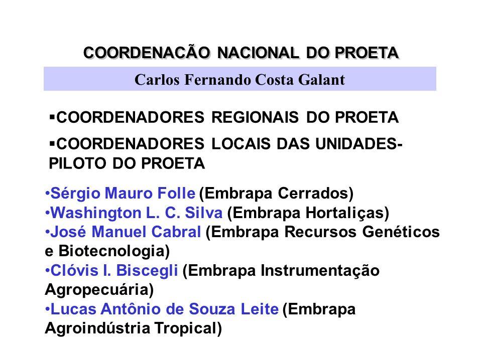 COORDENACÃO NACIONAL DO PROETA Carlos Fernando Costa Galant