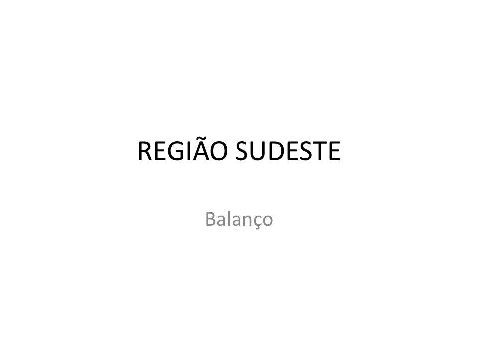 REGIÃO SUDESTE Balanço