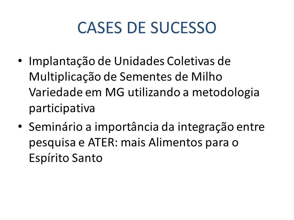CASES DE SUCESSO Implantação de Unidades Coletivas de Multiplicação de Sementes de Milho Variedade em MG utilizando a metodologia participativa.
