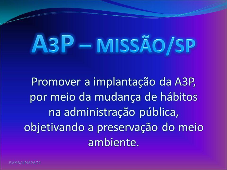 A3P – MISSÃO/SP Promover a implantação da A3P, por meio da mudança de hábitos na administração pública, objetivando a preservação do meio ambiente.