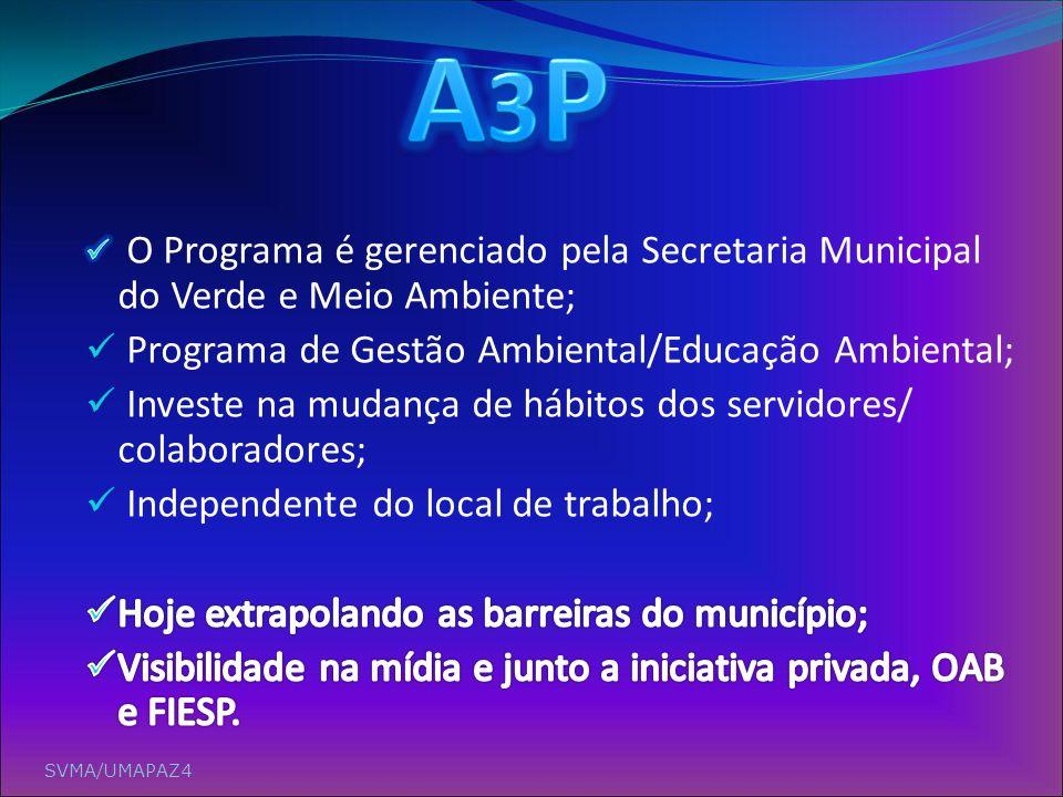 A3P Programa de Gestão Ambiental/Educação Ambiental;