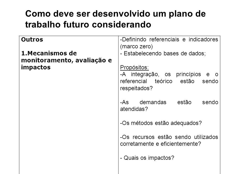 Como deve ser desenvolvido um plano de trabalho futuro considerando
