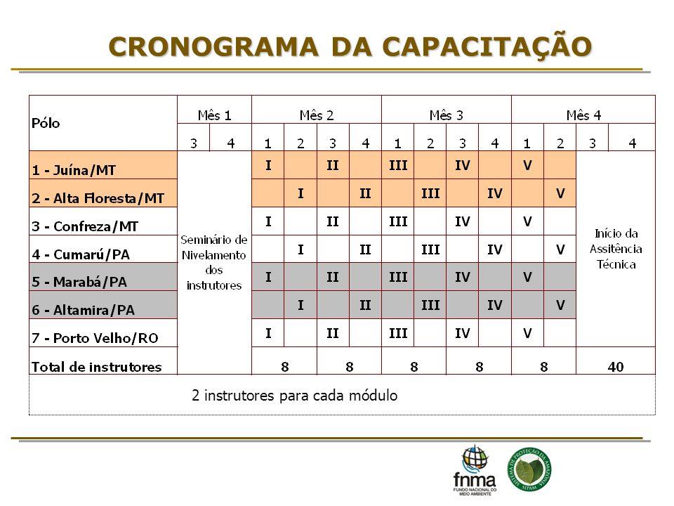 CRONOGRAMA DA CAPACITAÇÃO