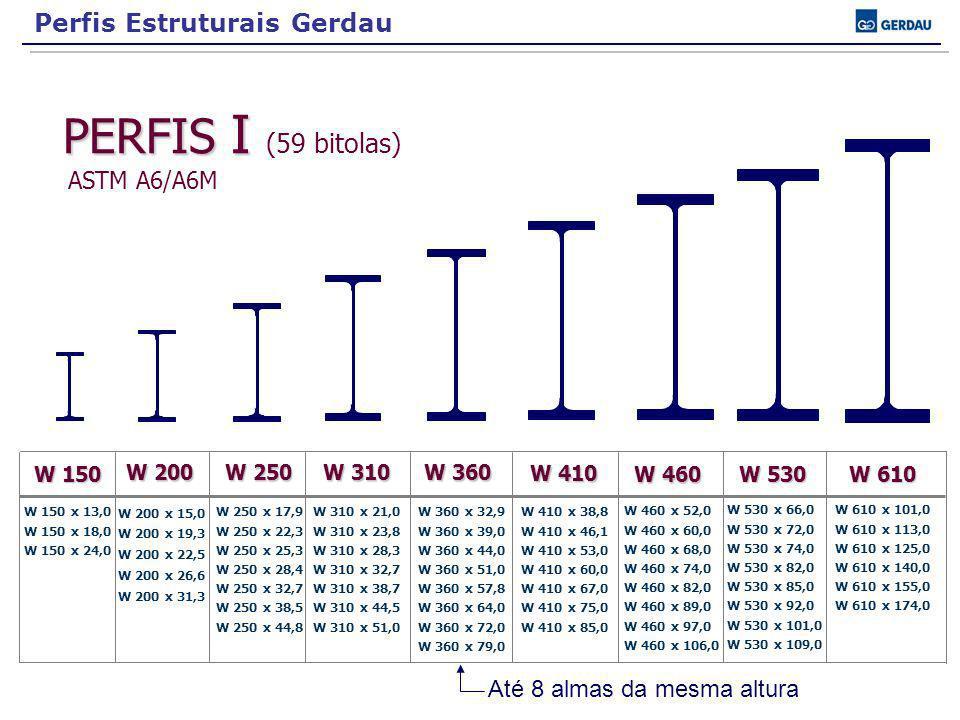 ASTM A6/A6M Perfis Estruturais Gerdau Até 8 almas da mesma altura