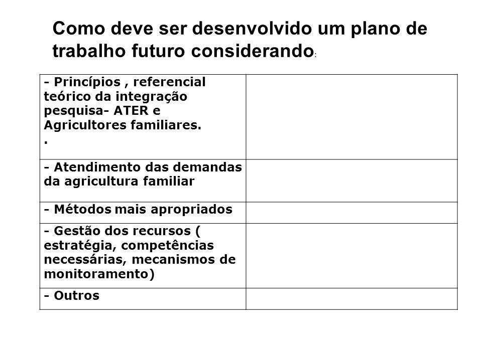 Como deve ser desenvolvido um plano de trabalho futuro considerando: