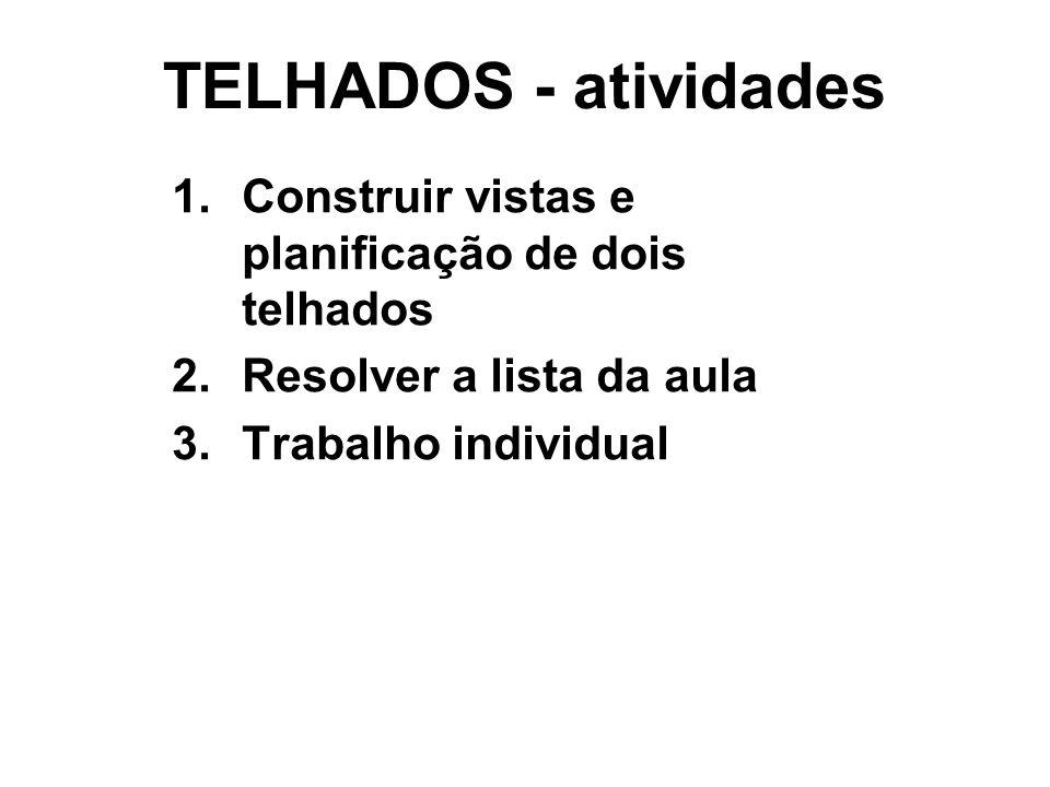 TELHADOS - atividades Construir vistas e planificação de dois telhados