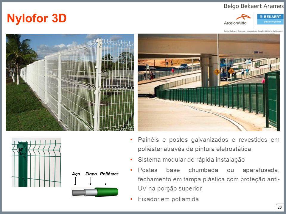 Nylofor 3D Painéis e postes galvanizados e revestidos em poliéster através de pintura eletrostática.