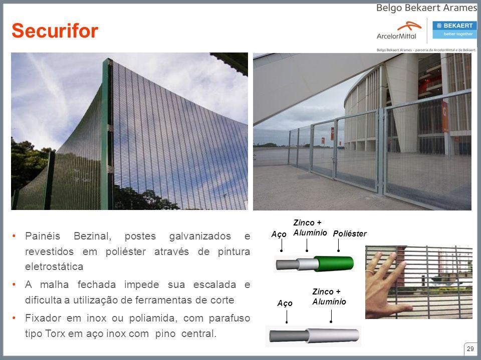 Securifor Aço. Zinco + Alumínio. Poliéster. Painéis Bezinal, postes galvanizados e revestidos em poliéster através de pintura eletrostática.