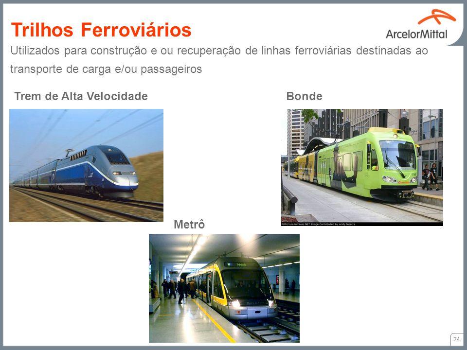 Trilhos Ferroviários Utilizados para construção e ou recuperação de linhas ferroviárias destinadas ao transporte de carga e/ou passageiros.