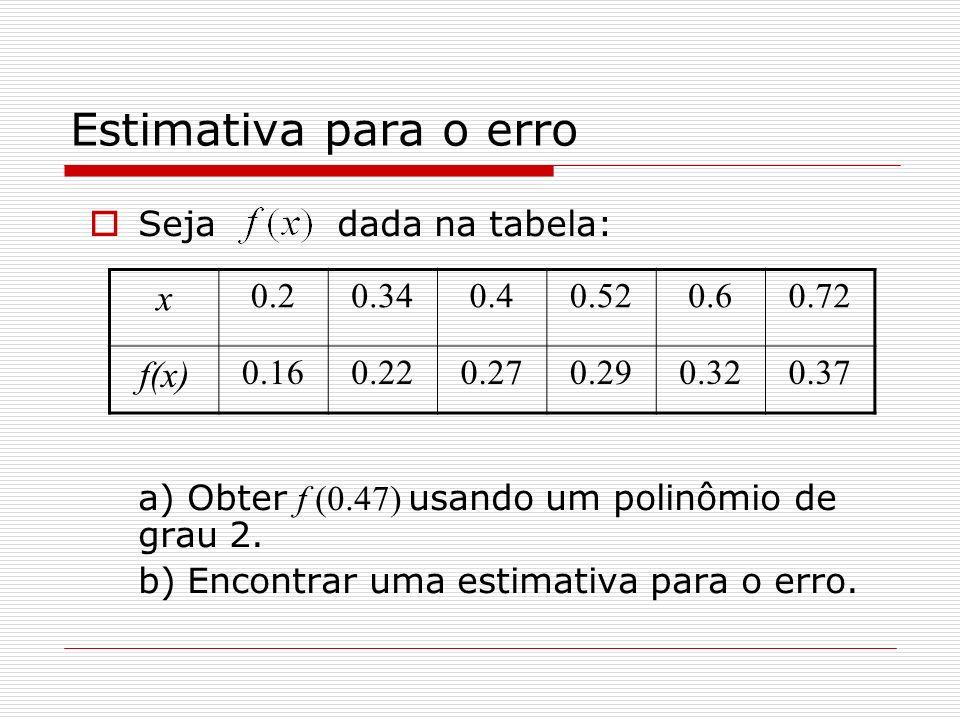 Estimativa para o erro x f(x) Seja dada na tabela: