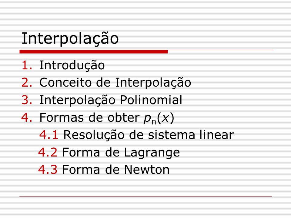 Interpolação Introdução Conceito de Interpolação