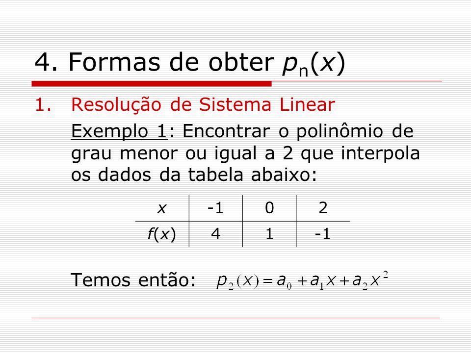 4. Formas de obter pn(x) Resolução de Sistema Linear