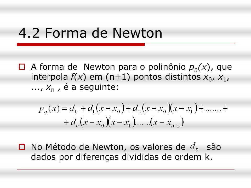 4.2 Forma de Newton A forma de Newton para o polinônio pn(x), que interpola f(x) em (n+1) pontos distintos x0, x1, ..., xn , é a seguinte: