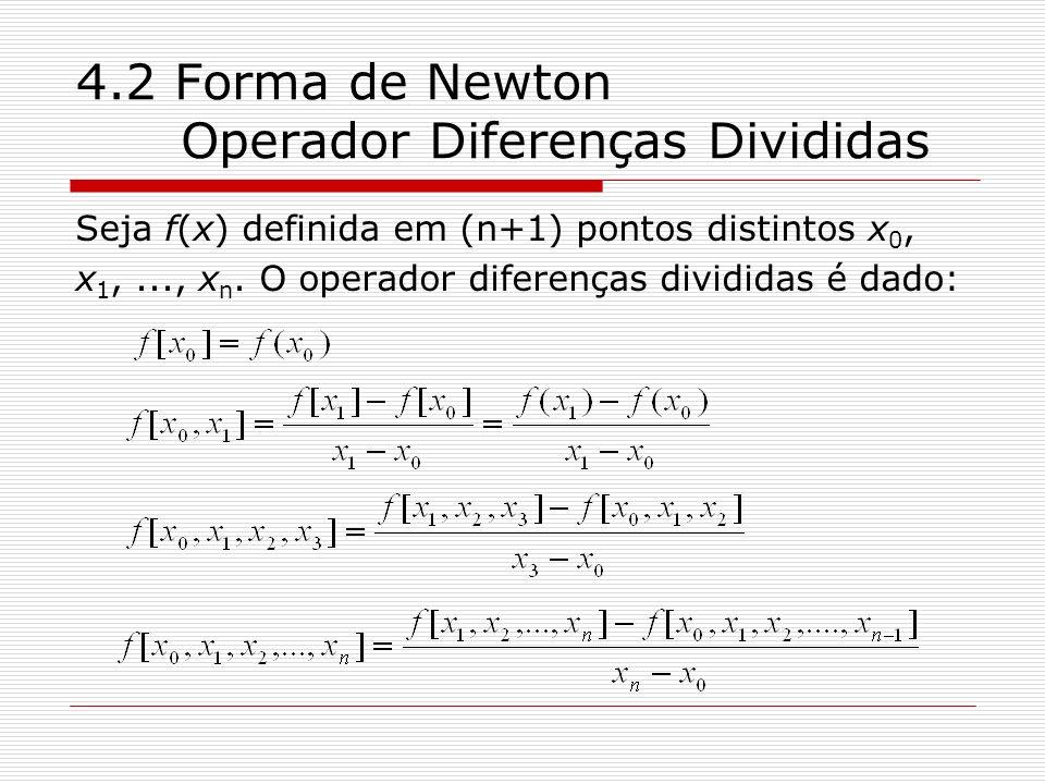 4.2 Forma de Newton Operador Diferenças Divididas