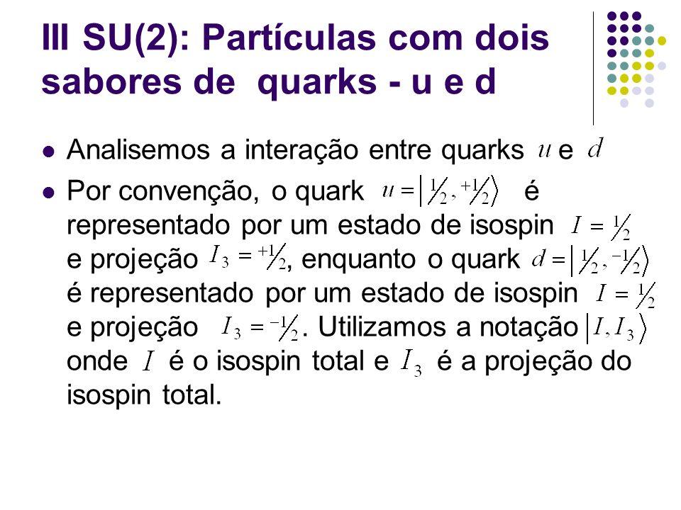 III SU(2): Partículas com dois sabores de quarks - u e d