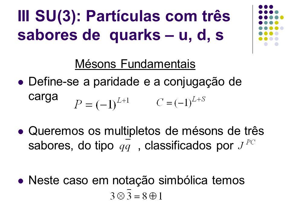 III SU(3): Partículas com três sabores de quarks – u, d, s