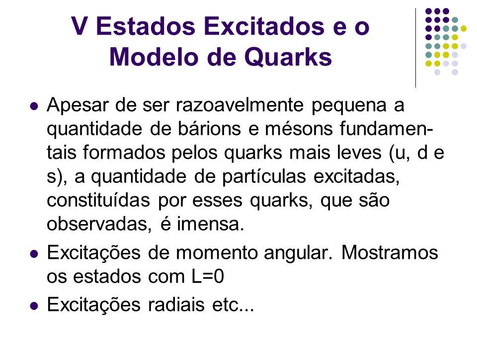 V Estados Excitados e o Modelo de Quarks