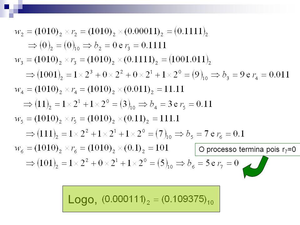O processo termina pois r7=0